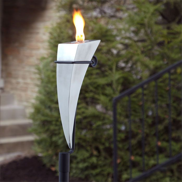 Lighting for Mom's garden -- Mother's Day Gift: Dionysus Brushed Stainless Steel Garden Torch with Yard Stake