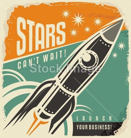 Retro poster with rocket launch