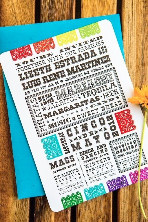Mexican Fiesta Papel Picado Invitations For Cinco De Mayo Wedding