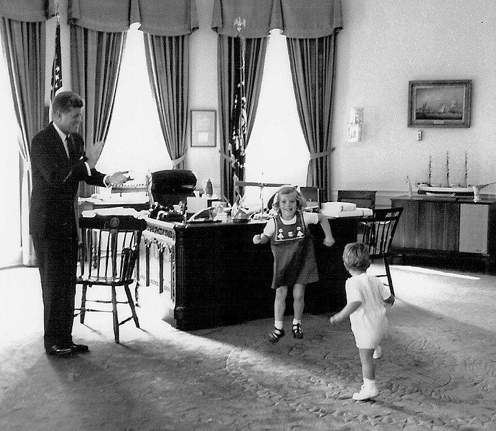 John f kennedy with his children caroline and john jr in the oval office 1962 camelot - Jfk oval office desk ...