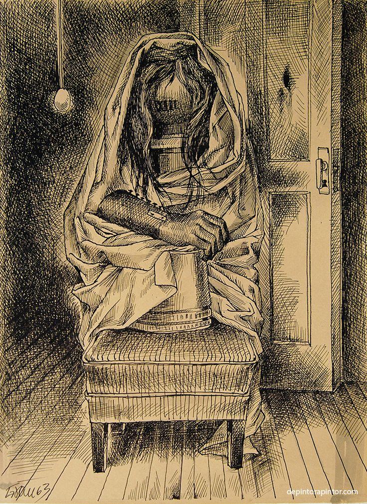 la muerte , Enrique Grau, tinta/papel