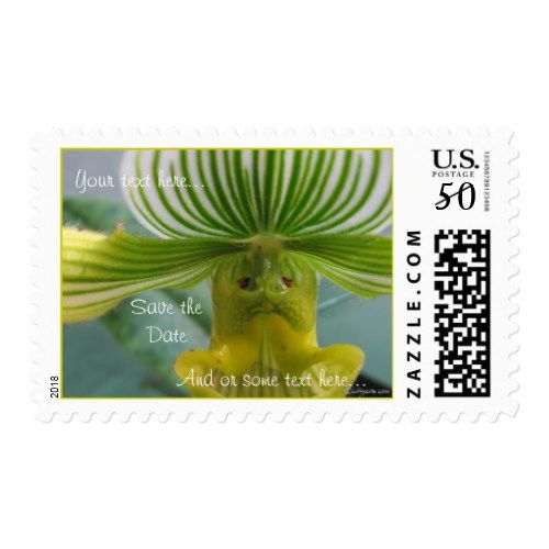 Funny Face Green Slipper Orchid Wedding Postage
