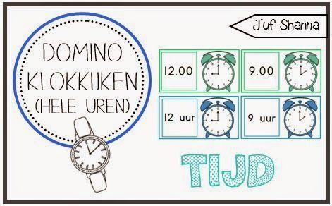 Domino klokkijken - hele uren (Juf Shanna)