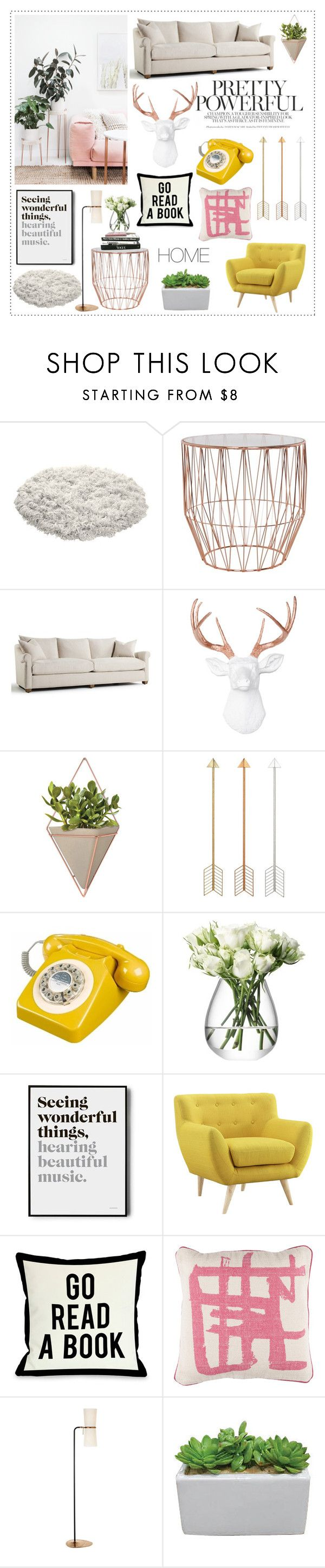 """""""Living Room"""" by bittersweet89 ❤ liked on Polyvore featuring interior, interiors, interior design, home, home decor, interior decorating, Umbra, LSA International, One Bella Casa and Surya"""