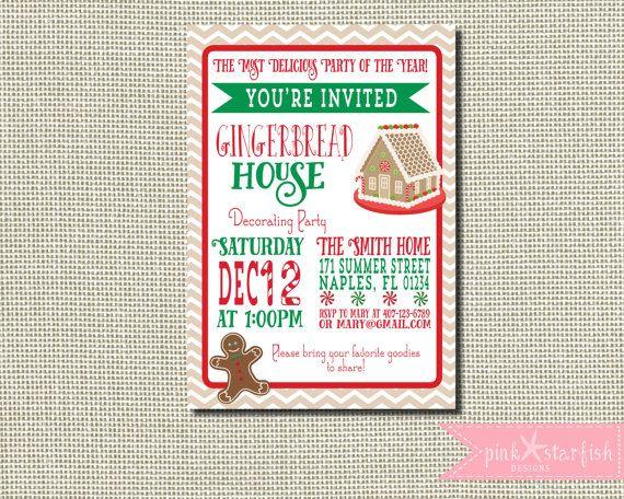 Gingerbread House Invitation Gingerbread by PinkStarfishDesigns