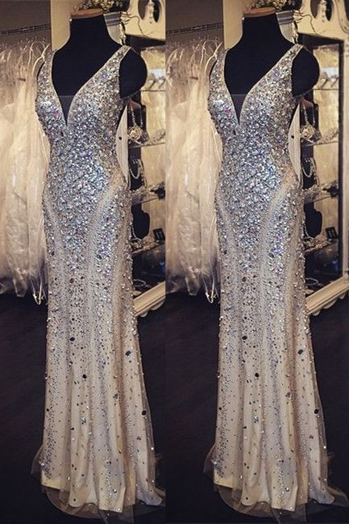Elegant Sheath V Neck Floor Length Satin Prom Dress With Rhinestones