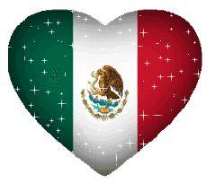Corazón con la bandera de Mexico