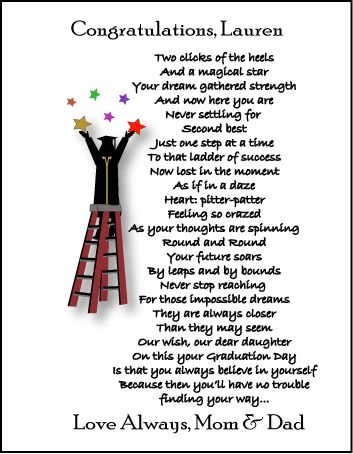 Special Graduation Gifts From Mother To Daughter : graduation poems graduation gifts personalized poetry for daughter ...