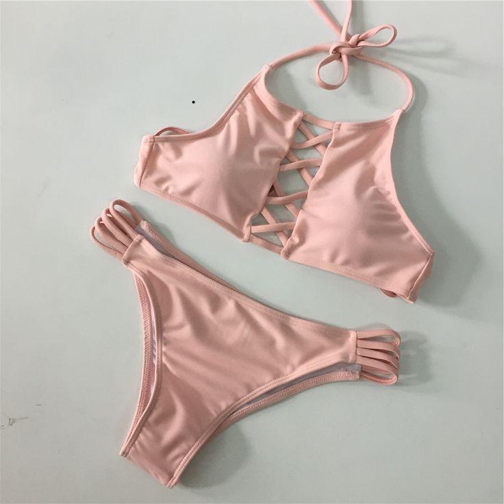 2017 Sexy Low Waist Bikini Set Maillot de Bain Femme Bikini Women Swimwear High Neck Swimsuit Costumi da bagno donna