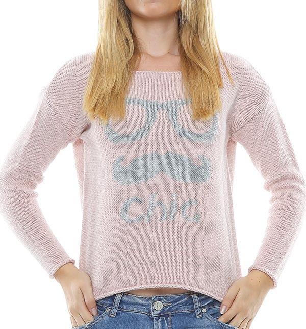 Jersey rosa de manga larga y cuello redondo, con estampado chic gris en la parte delantera.