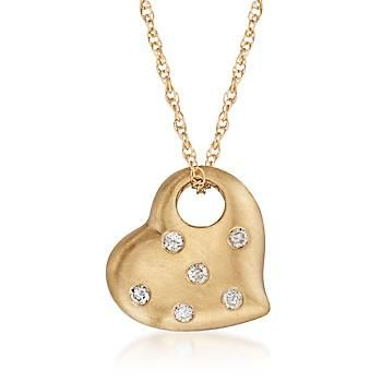 """Ross-Simons - C. 2000 Vintage .18 ct. t.w. Diamond Heart Pendant Necklace in 14kt Yellow Gold. 18"""" - #887826"""