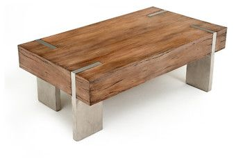 Modern Rustic Block Coffee Table - Woodland Creek offers a large selection of unique wood furniture designs.  All designs are available in custom sizes and finishes.  This coffee table is handcrafted from reclaimed and sustainable woods. It can be made any size needed. Matching end table are also available.  Visit our web site to see over 2,000 unique products.