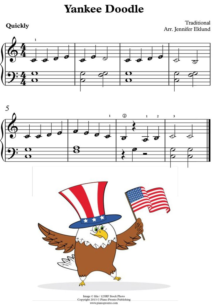 Primer version of Yankee Doodle - has note names in note heads for those really just learning to read notes on the staff.