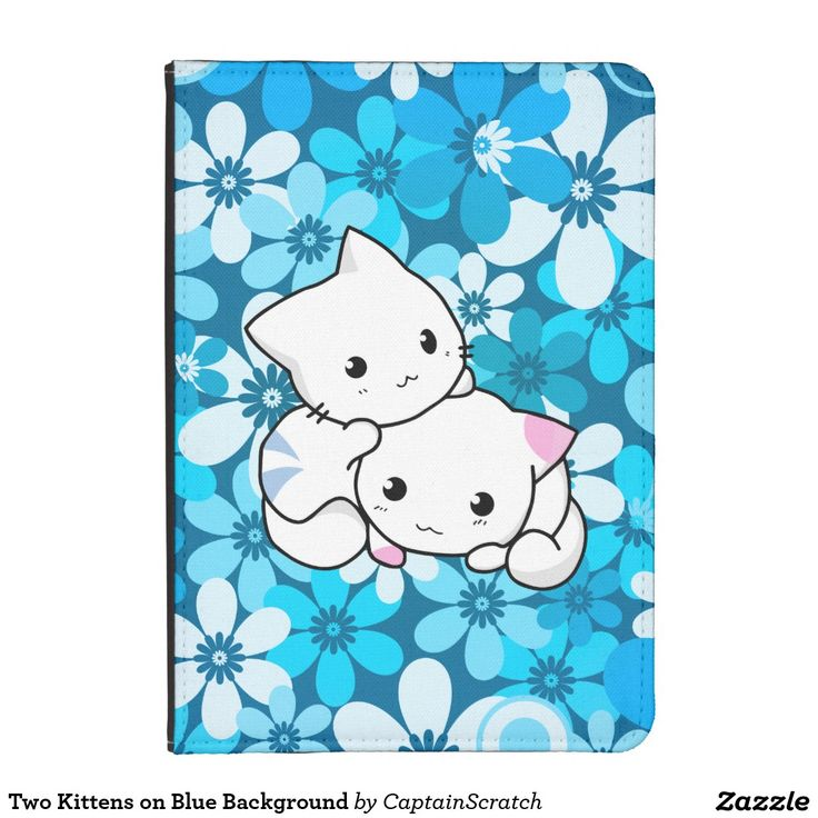Two Kittens on Blue Background Kindle Case
