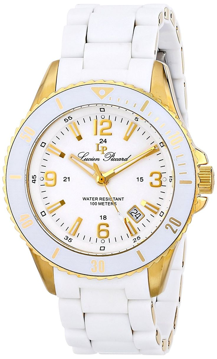 Lucien Piccard Men's LP-93608-YG-22 Moccasino Analog Display Swiss Quartz White Watch >>> You can find out more details at the link of the image.