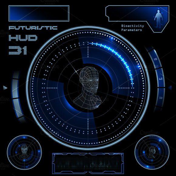 Futuristic Hud Touch Gui Elements Id Card Template Game Interface Futuristic