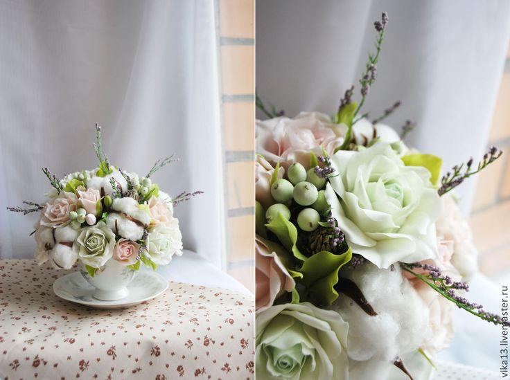 """Купить Букет """"Хлопковый прованс"""" - бежевый, мятный цвет, белый цвет, розы ручной работы"""