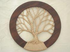 Árvore da vida hippie parede do vintage macramé pendurado no enorme quadro do círculo