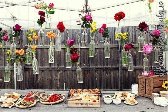 picnic wedding idea picnic wedding idea picnic wedding idea: Decor, Wedding Ideas, Flower In Bottle, Wine Bottle, Hanging Flower, Gardens Parties, Flower Vase, Backyard Wedding, Winebottle