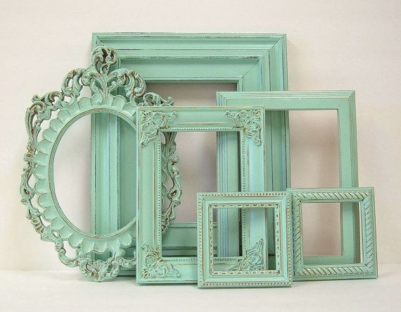 Shabby Chic Frames Pastel Mint Green Picture Frame Set Ornate Frames Wedding Shabby Chic Home Decor