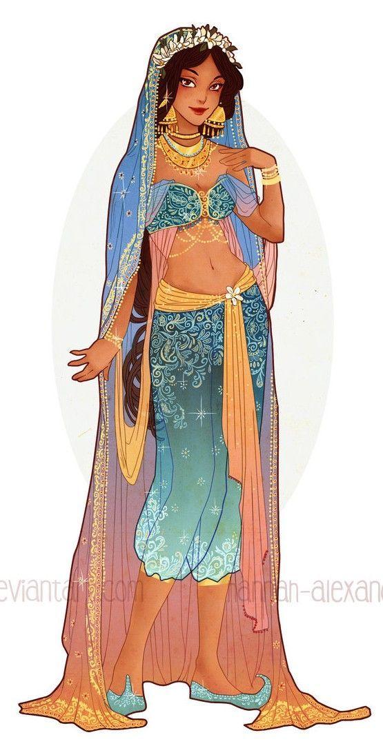 Art Nouveau Costume Designs V - Princess Jasmine by Hannah Alexander: