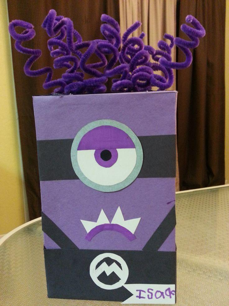 Purple Minion Valentines Box for school.