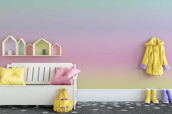 Pastel Rainbow Ombre Removable Wallpaper Rainbow Gradient Etsy Teal Removable Wallpaper Removable Wallpaper Ombre Wallpapers