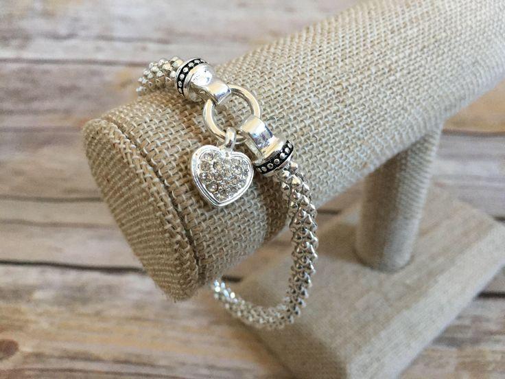 Silver Toned Metal and Rhinestone Heart Bracelet