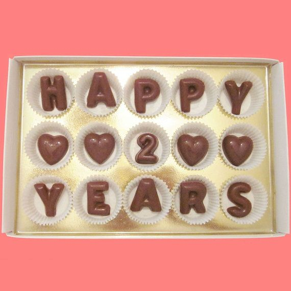 Happy 2 Years Large Milk Chocolate Letters Second Anniversary Gift for Boyfriend Girlfriend Husband Wife Made to Order