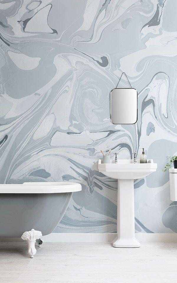Fotomural Efecto Marmol Azul A La Deriva Bathroom Wallpaper New