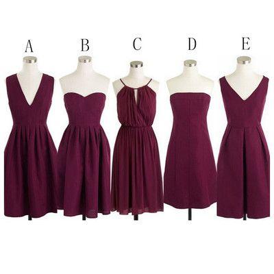 Burgundy short bridesmaid dresses,cheap bridesmaids dresses