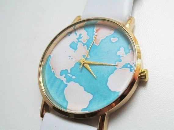 Valentines gift Women Watch Birthday gift Watch world map Watch Men Unisex Watch Gift for men Boyfri