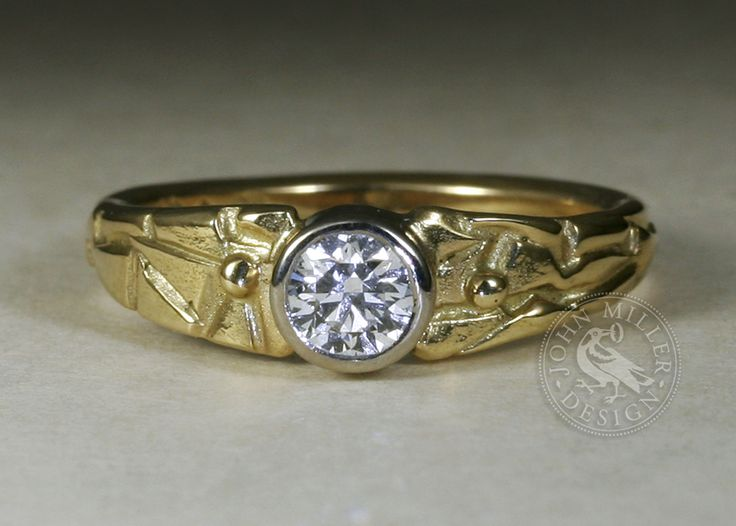18ct yellow gold fused ring, 'Adamaris', set with a 43pt diamond, handmade in our Yallingup workshop
