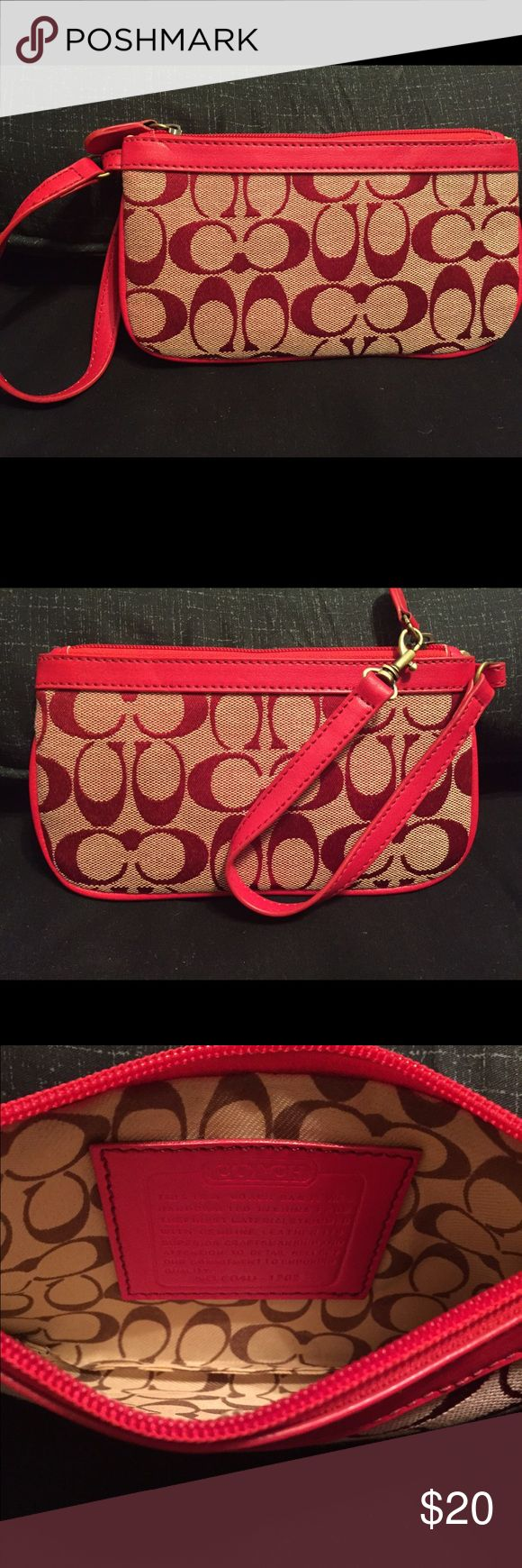 Coach Wristlet Large Coach Wristlet. Color - outside red and tan, inside tan with coach pattern. In really good condition. Coach Bags Clutches & Wristlets