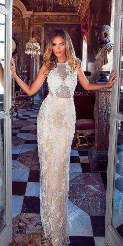 wedding dress designers sheath lace bateau neckline sleeveless milla nova