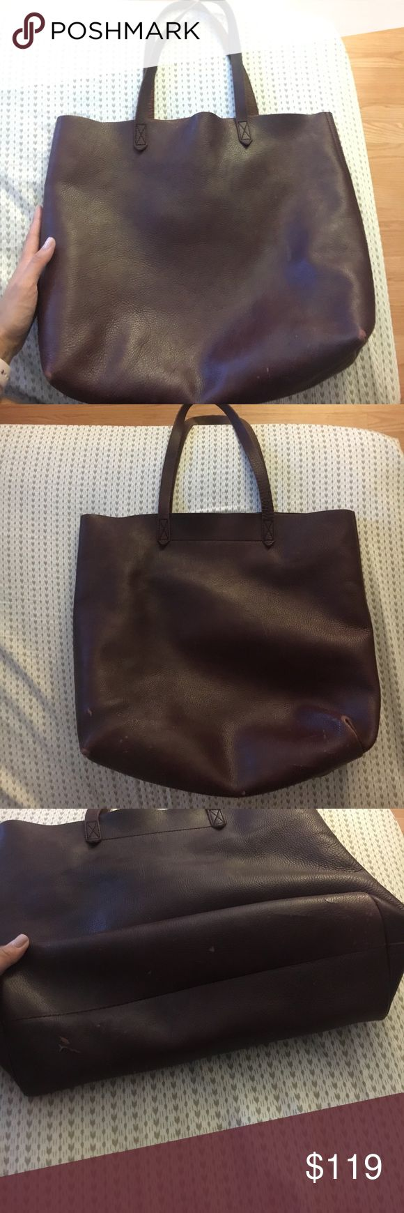 "Madewell transport tote in Drk Cabernet Used but still tons of life! Made of semi vegetable-tanned leather Interior pocket. 8 3/10"" handle drop. 14""H x 14""W x 6""D. Madewell Bags Totes"