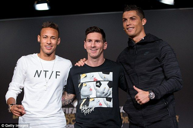 Neymar finished third behind Messi and Cristiano Ronaldo in the 2015 Ballon d'Or