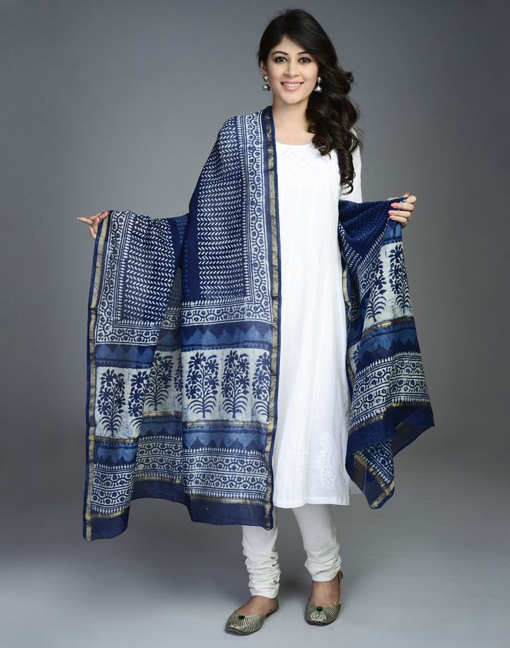 Silk Cotton Chanderi Printed Patti Dupatta