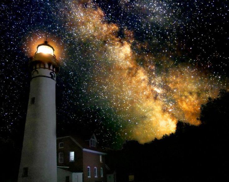 Seychelles Lighthouse Milky Way Over Ou Milky Way