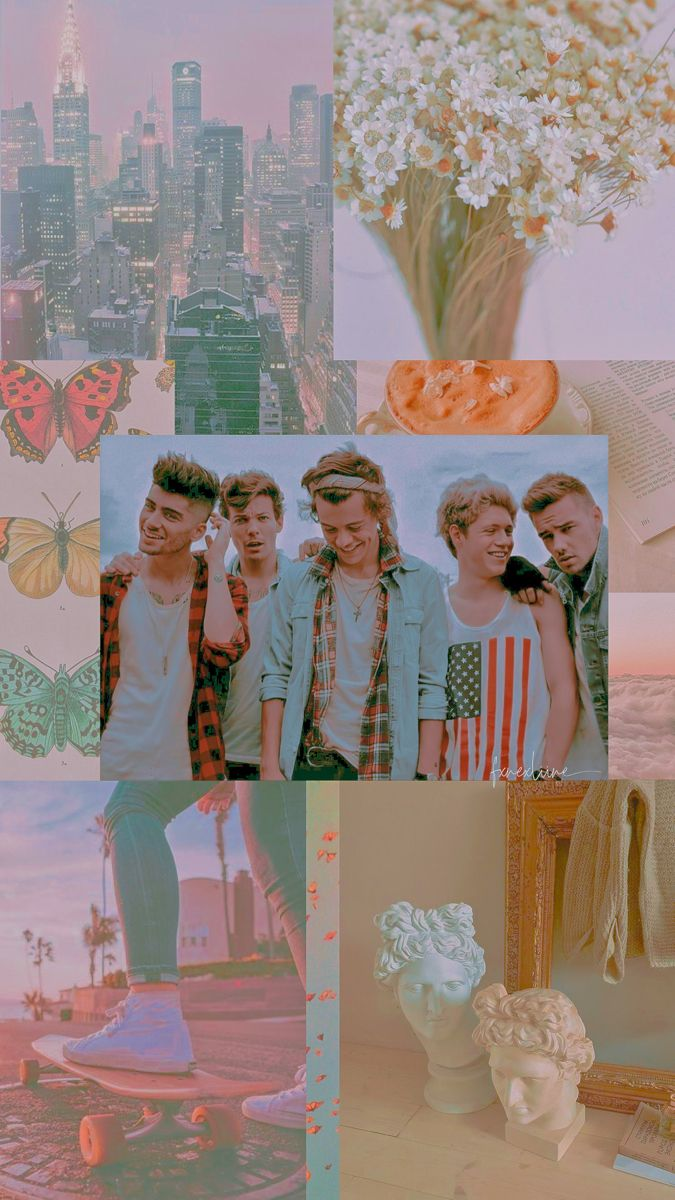 One Direction Aesthetic Pastel Collage Wallpaper In 2021 Collage Wallpapers One Direction Wallpaper One Direction Lockscreen