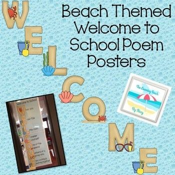 **BEACH Theme** Welcome to School Sign {Welcome Poem for Students}