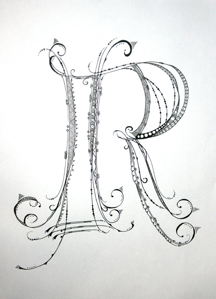 "Zenspirations Monogram ""R"" Drawing."