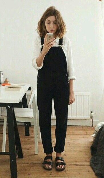 white button-down + black overalls + birks                                                                                                                                                                                 More