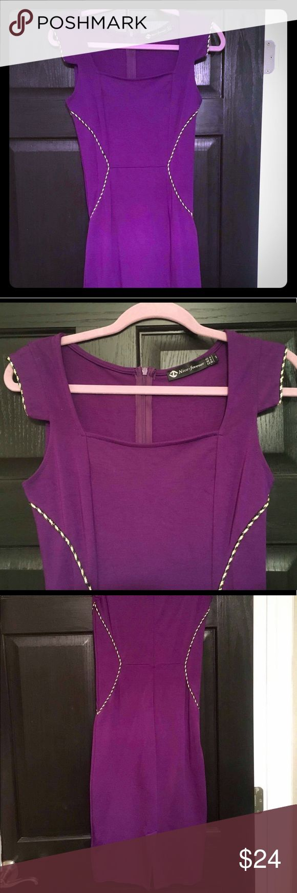Purple pencil dress w/ embellished seams Flattering and stretchy purple pencil dress, embellished seams with twisted gold and black detail. Feminine but flirty short sleeves, can be worn to work or dresses up for a night out. Size small, fits a 2 or 4. Barely worn, color is a true regal purple Nice Forever Dresses Midi