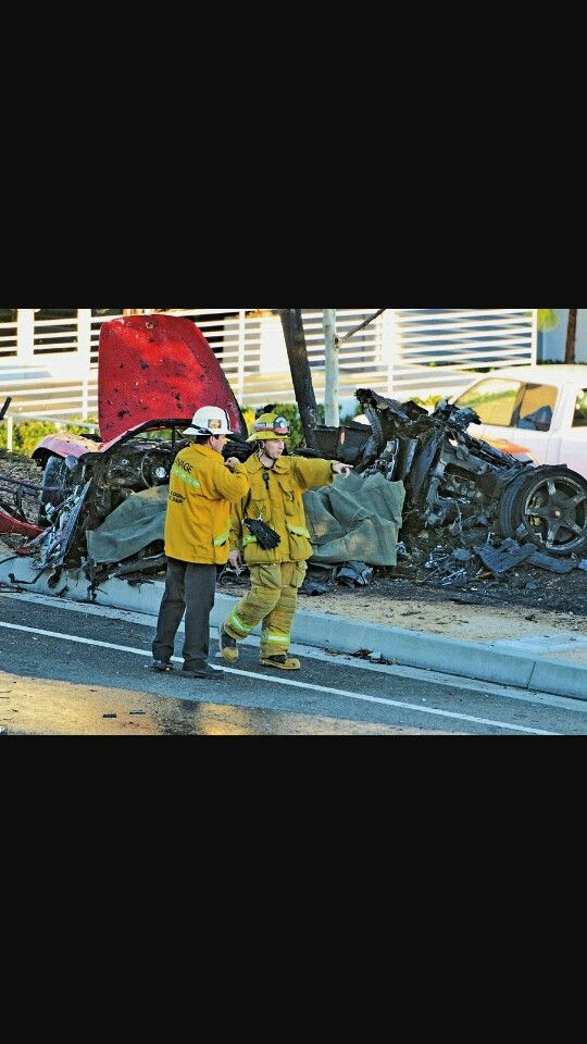 Paul walkers death is a tragedy here is s picture of Paul walkers crashed car after they found his body