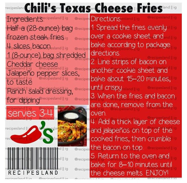 Chili's texas cheese fries. Can't wait to try this!