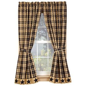 Primitive Curtains: Black Star Farmhouse Curtains
