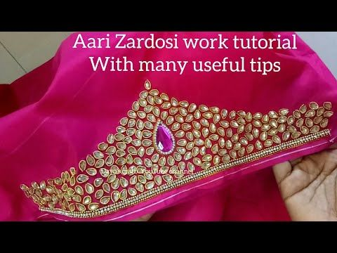 c412df96c Aari/ Maggam work| Making of heavy work with Zardosi, Kundan stones| aari  work on sleeves - YouTube