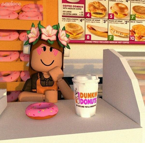 Dunkin Donuts Girl Cute Tumblr Wallpaper Roblox Animation Roblox Pictures