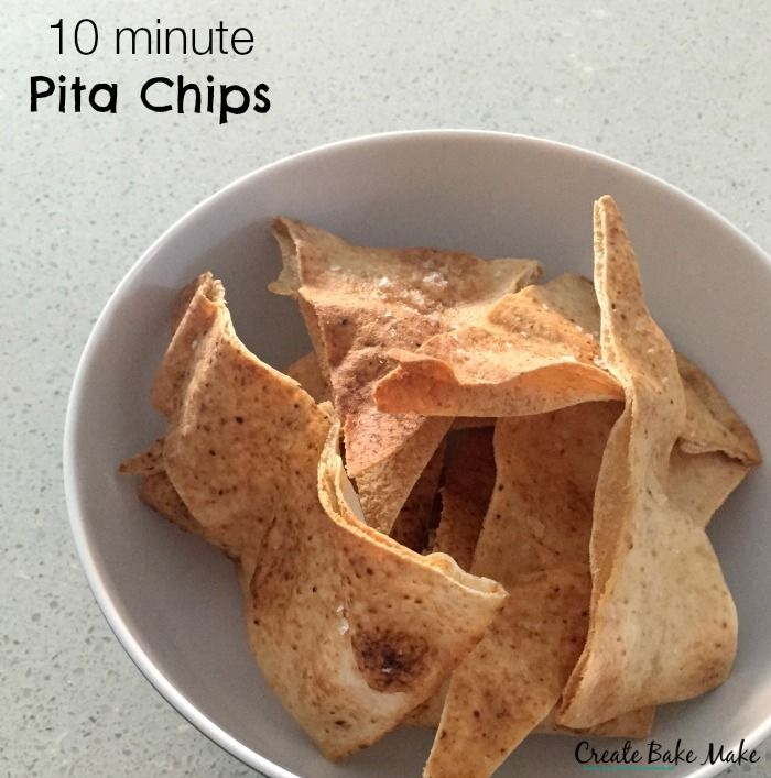 These 10 minute Pita Chips honestly do take just 10 minutes to put together. All you then need is some dip or carrot sticks and cheese and you've got an easy snack ready in no time at all.